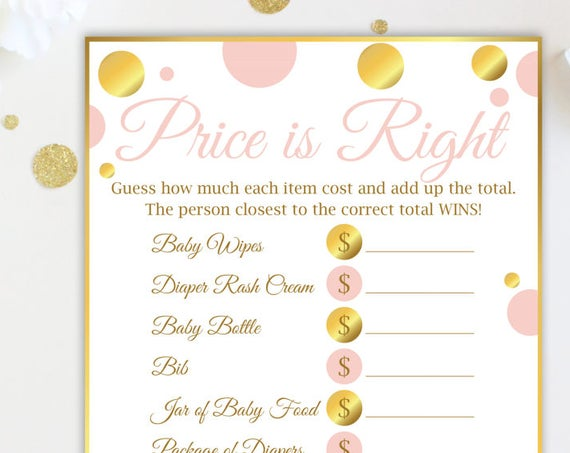 The Price is Right ~ Pink and Gold Baby Shower Game ~ Baby Girl Polka Dot ~ Printable Game PGld20