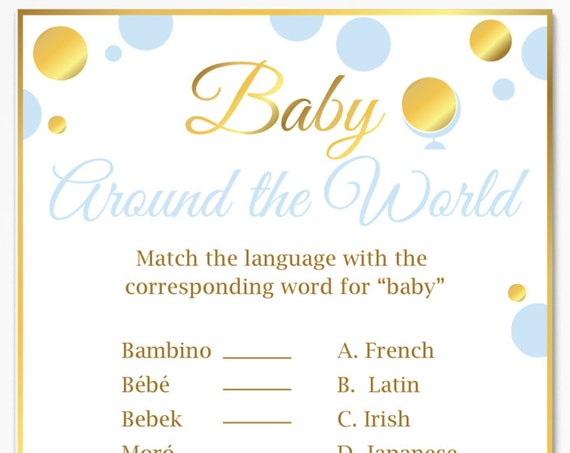 Baby Around the World ~ Blue and Gold Baby Shower Game ~ Baby Boy Polka Dot ~ Printable Game BGld20