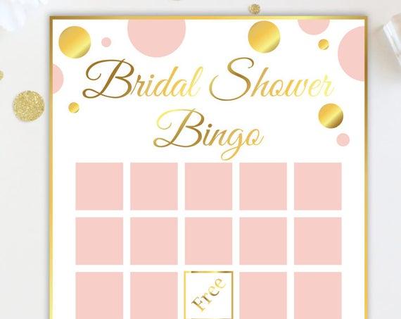 Bridal Shower Bingo Game ~ Pink and Gold Bridal Shower Game ~ Gold Polka Dot ~ Printable Game GldBridal20