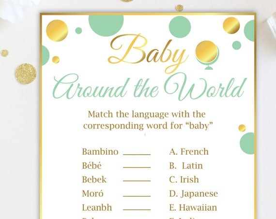 Baby Around the World ~ Mint and Gold Baby Shower Game ~  Gender Neutral Polka Dot ~ Printable Game MintGld20