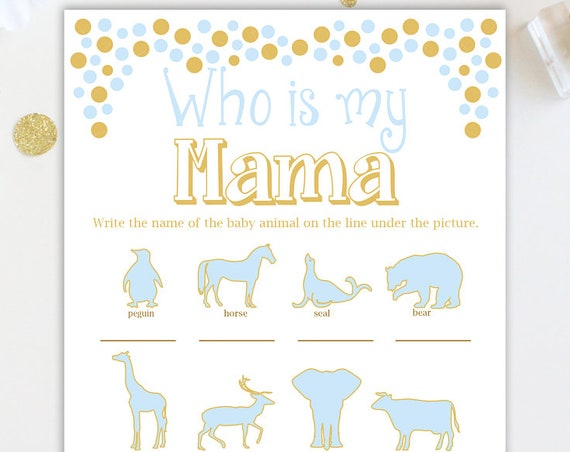 Who Is My Mama Game ~ Blue and Gold Baby Shower Game ~ Baby Boy Pram ~ Printable Game 0024BG