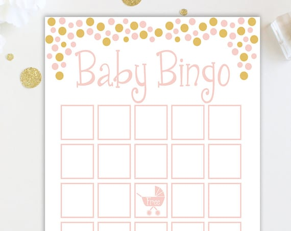 Bingo Game ~ Pink and Gold Baby Shower Game ~ Baby Girl  ~ Printable Game Polka Dots 0024PG
