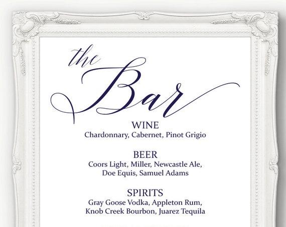 Navy Blue Wedding Bar Menu Sign ~ Drinks Sign ~ Reception Sign ~ Menu Printable Sign ~ Editable Template ~ Instant Download PDF ~ 120N