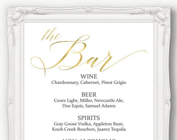 Gold Wedding Bar Menu Sign ~ Drinks Sign ~ Reception Sign ~ Menu Printable Sign ~ Editable Template ~ Instant Download PDF ~ 120G