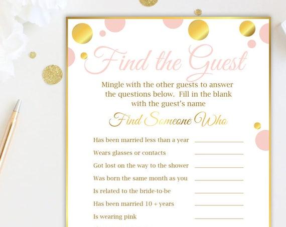 Find the Guest Game ~ Pink and Gold Bridal Shower Game ~ Gold Polka Dot ~ Printable Game GldBridal20
