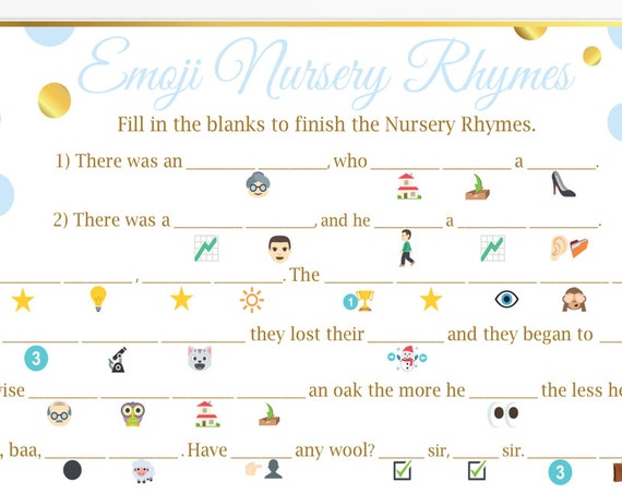 Emoji Nursery Rhymes Game ~ Blue and Gold Baby Shower ~ Baby Boy Polka Dot ~ Printable Game BGld20