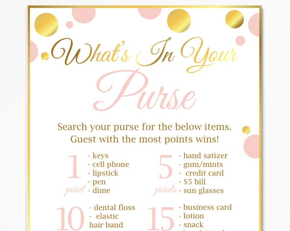 What's in Your Purse ~ Pink and Gold Baby Shower Game ~ Baby Girl Polka Dot ~ Printable Game PGld20