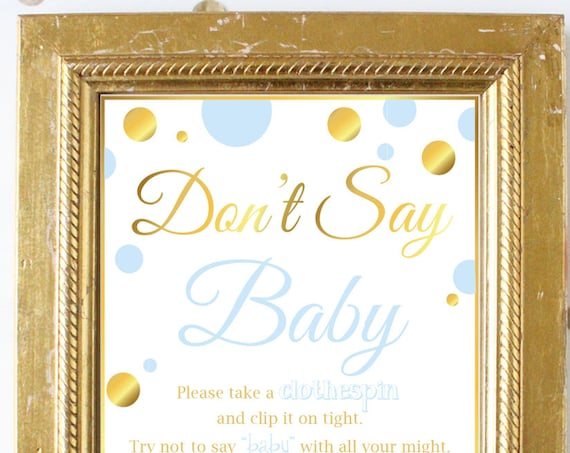 Don't Say Baby ~ Blue and Gold Baby Shower Game ~ Baby Boy Polka Dot ~ Printable Game BGld20