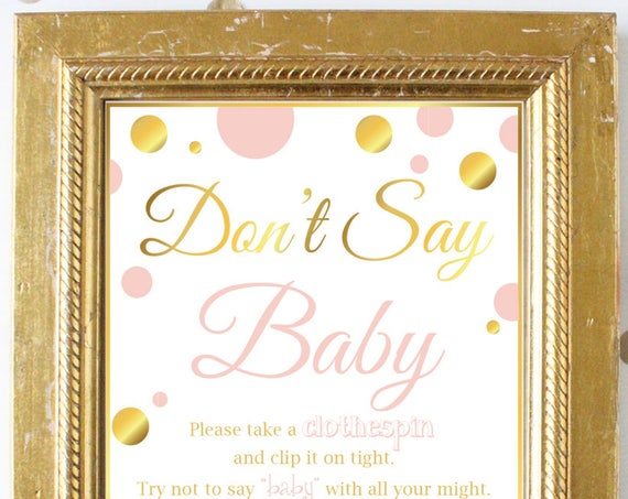 Don't Say Baby Game ~ Pink and Gold Baby Shower Game ~ Baby Girl Polka Dot ~ Printable Game PGld20