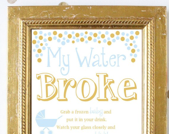 My Water Broke ~ Blue and Gold Baby Shower Game ~ Baby Boy Polka Dots ~ Pram Stroller Theme ~ Printable Game 0024BG