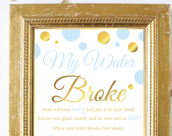 My Water Broke ~ Blue and Gold Baby Shower Game ~ Baby Boy Polka Dot ~ Printable Game BGld20