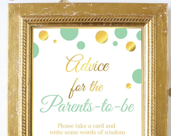 Advice Card and Sign ~ Mint and Gold Baby Shower Game ~ Polka Dots ~ Printable Game MintGld20