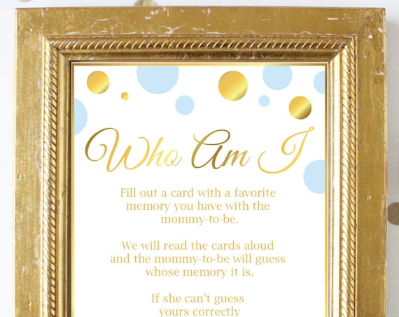 Who Am I ~ Blue and Gold Baby Shower Game ~ Baby Shower Baby Boy Polka Dot ~ Printable Game BGld20
