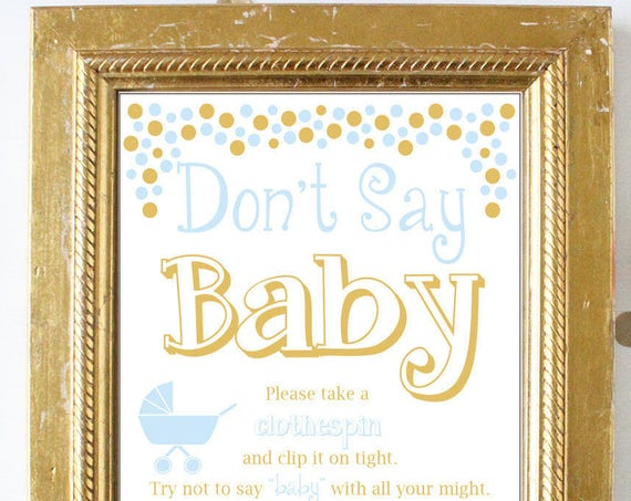 Don't Say Baby Game ~ Blue and Gold Baby Shower Game ~ Baby Boy Polka Dots ~ Pram Stroller Theme ~ Printable Game 0024BG