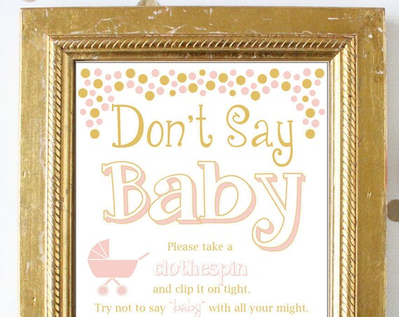 Don't Say Baby Game ~  and Gold Baby Shower Game ~ Baby Girl Polka Dots ~ Printable Stroller Theme Game 0024PG