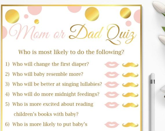 Mom vs Dad Quiz ~ Pink and Gold Baby Shower Game ~ Baby Girl Polka Dot ~ Printable Game PGld20