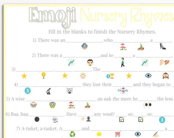 Emoji Nursery Rhyme Game ~ Yellow Baby Shower Game ~ Classic Border ~ Printable Game 0026Y