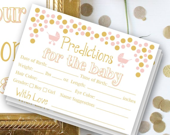 Baby Shower Baby Prediction ~ Sign and Cards ~ Baby Girl  ~ Printable Game Polka Dots 0024PG