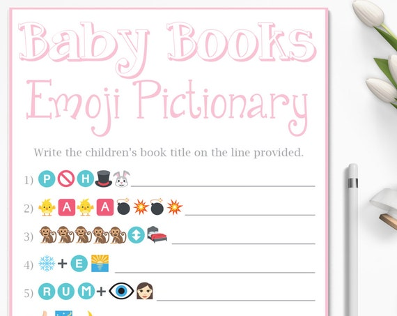 Emoji Baby Game ~ Pink Baby Shower Game ~ Baby Books Pictionary ~ Classic Border ~ Printable Game 0026P