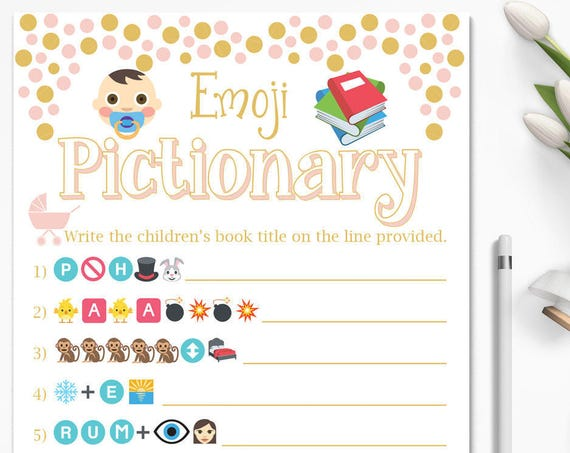 Baby Books Emoji Game ~ Pink and Gold Baby Shower Game ~ Baby Girl Stroller ~ Printable Game Polka Dots 0024PG
