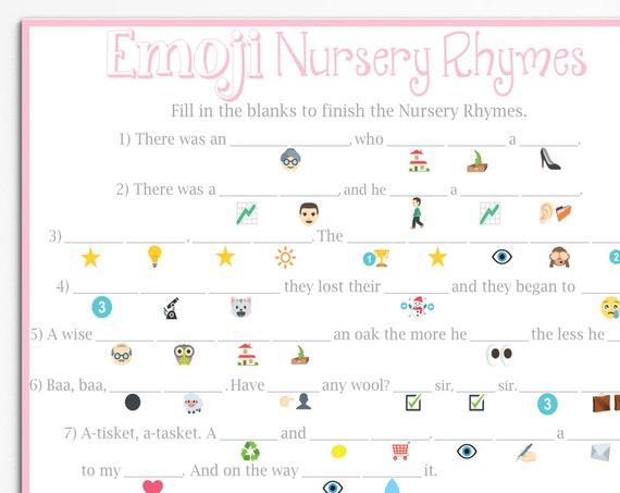 Emoji Nursery Rhyme Game ~ Pink Baby Shower Game ~ Classic Border ~ Printable Game 0026P