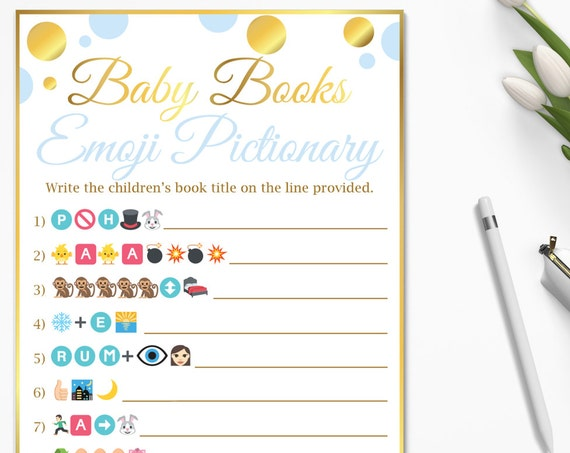 Baby Books Emoji Game ~ Blue and Gold Baby Shower Game ~ Baby Boy Polka Dot ~ Printable Game BGld20