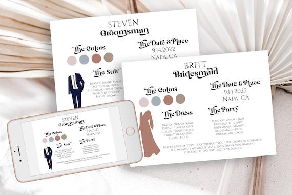 Retro Wedding Party Dress and Tuxedo Info Card Set, Bridesmaids Card, Wedding Party Details,  Modern Font Groomsmen Printable PPW74