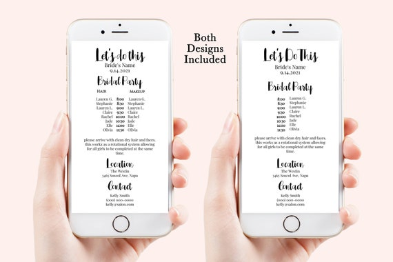 Wedding Party Hair & Makeup Timeline, Electronic Itinerary, Evite, Digital, Text Message, 100% Editable, Corjl PPW-SIDE