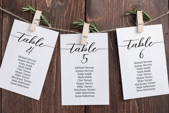 Wedding Seating Table Cards, Seating Display, Elegant Calligraphy, Find Your Seat, Table Information 100% Editable Template, Corjl PPW16 MAE