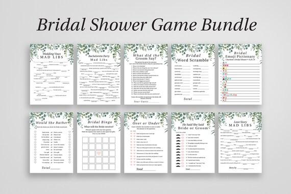 Bridal Shower Game Bundle, 10 Editable Templates, Customize, Modern Greenery Elegant Design, 100% Editable, Templett PPW0440