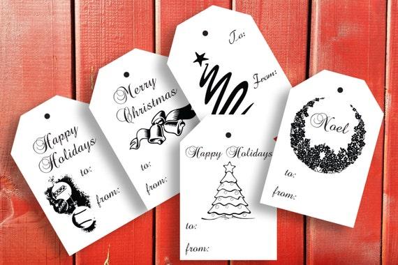 Printable Christmas Gift Tags~Printable Holiday Label~Christmas Bells~Wreath~Tree~Ornaments~Party Printable