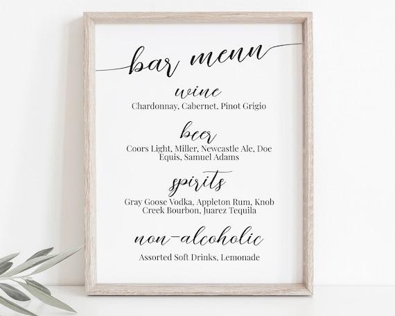 Wedding Bar Menu, Event Drink List, Menu Sign,  Elegant Calligraphy, Editable Card 100% Editable Template, Corjl PPW16 MAE