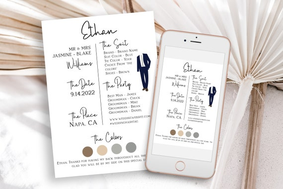 Groomsman Information Card, Printable Best Man Details, Note to Groomsmen, Wedding Party Detail Cards Editable PPW508