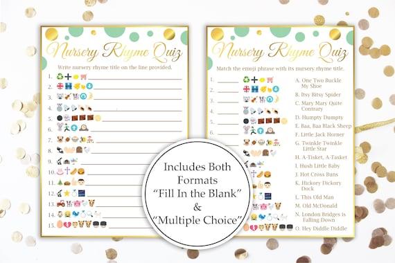 Emoji Nursery Rhyme Quiz Printable for Neutral Gender Baby Shower Entertainment MintGld20