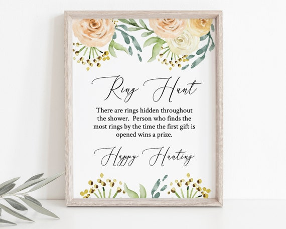 Blush Floral Bridal Shower Ring Hunt Game, Editable Wedding Template, 100% Editable, Instant Download, Templett  PPW0225