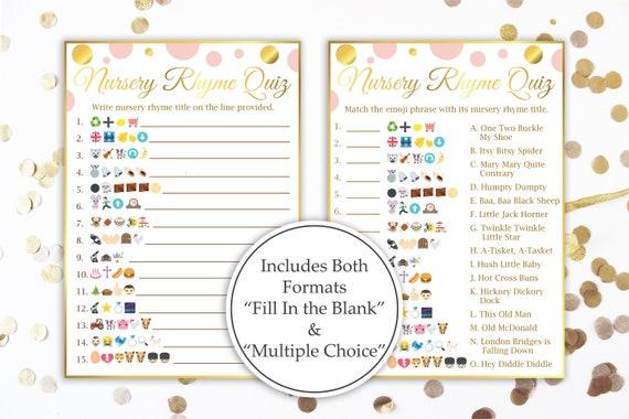Emoji Nursery Rhymes Match Quiz ~ Pink and Gold Baby Shower ~ Baby Girl Polka Dot ~ Printable Game PGld20