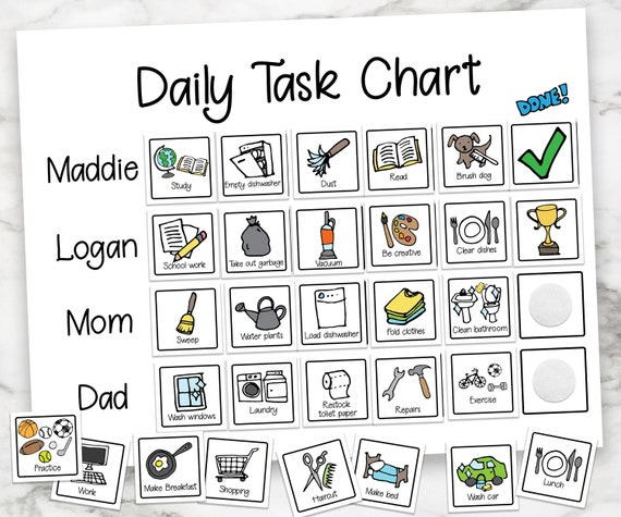 Daily Task Chart, Chore Chart, Kids Chores, Family Daily Routine, Child's Job List, Printable Chore Chart, Visual Task List for Kids