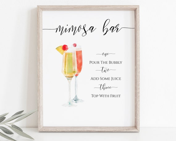 Watercolor Mimosa Sign, Bar Menu Template, Bridal Shower Sign, Wedding Event Printable, Instant Download, Editable PPW0550 Grace