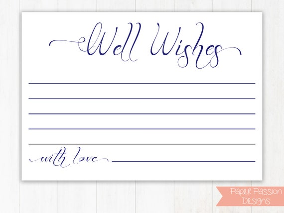 Navy Wedding Well Wishes Cards, Well Wishes Cards,  Leave a note for the Newlywed Cards, Wedding Template, Instant Download PDF, 110N