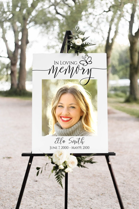 Butterfly Memorial Sign, Celebration of Life Welcome Picture, Funeral Collage of Pictures, Easel Display Sign, Editable Template PPF550