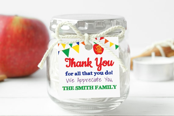 Teacher Appreciation Week Tag, Banner Gift Tag Printable, Apple Thank You Card, Personalize, Editable TAW120
