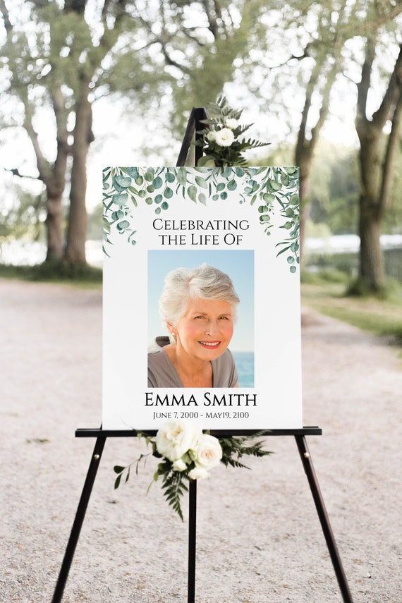 Memorial Funeral Sign, Celebration of Life Welcome Sign, Photo Collage Display, Greenery Printable Template, Editable Corjl Template PPF440