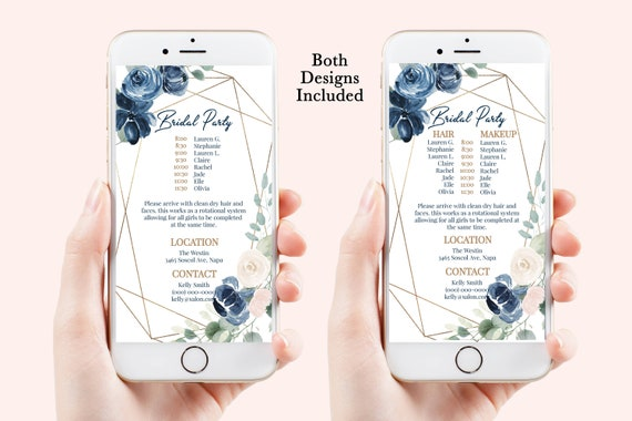 Wedding Party Hair & Makeup Timeline, Electronic Itinerary, Evite, Digital, Text Message, Navy Floral100% Editable, Corjl AVRIL-C3