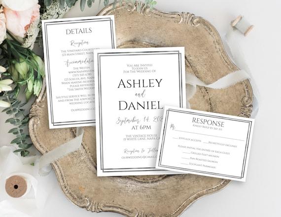 Silver Wedding Invitation Set, RSVP Card, Details Card, Elegant Invitation Suite, Modern Wedding Editable Template, Corjl PPW-NY21S