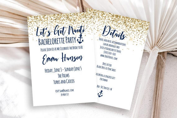 Bachelorette Party Weekend Invitation Template, Details and Invite Card, Let's Get Nauti Theme, Editable, Printable PPW28 MARIN