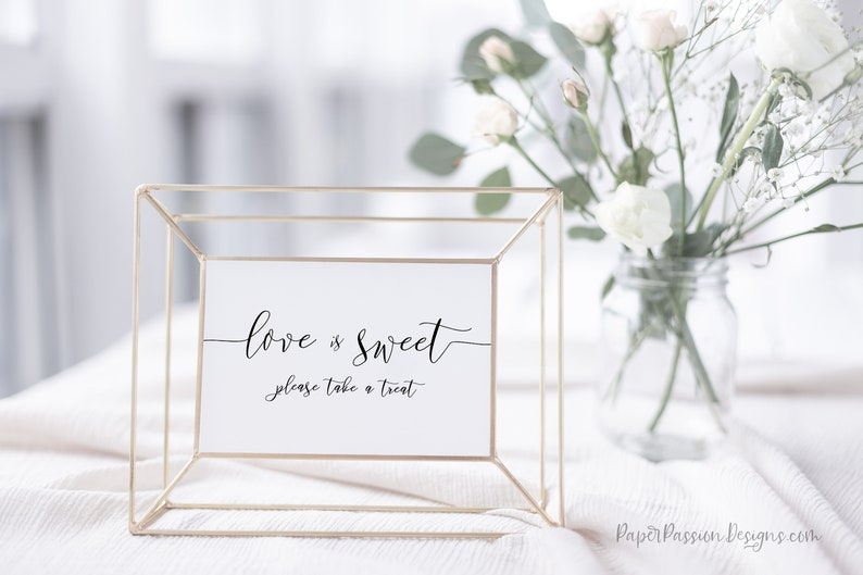 Love is Sweet Sign Wedding Take a Treat Sign Wedding image 0