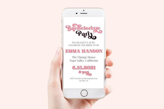 Pink Retro Bachelorette Party Evite, Hen Party, Electronic Invitation, Bridal Shower, Modern Retro, 100% Editable Template, Corjl PPW70P