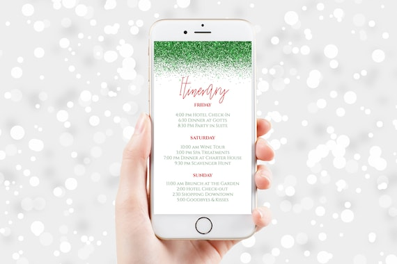 Green Glitter Itinerary, Hen Party, Electronic Invitation, Bachelorette, Bridal Shower, Christmas Event, Editable Template PPW90GreenRed