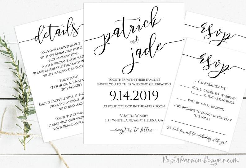 Wedding Invitation Suite Wedding Minimalist Invite RSVP image 0