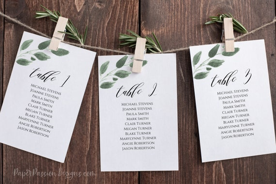 Wedding Table Seating Card, Greenery Seating Display Cards, 100% Editable,  Templett PPW0450
